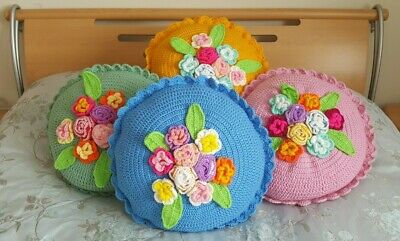 Hand Crochet Flowers Cushion Covers (one pair set).