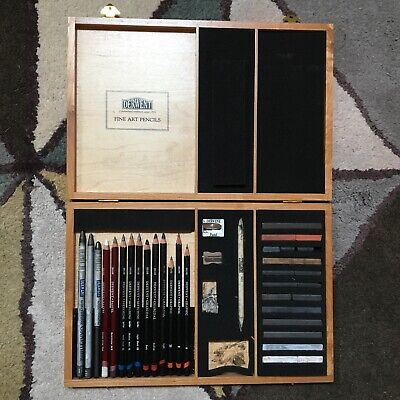 Derwent Sketching Collection Pencils, Grafite, Charcoal Set In Wooden Box USED