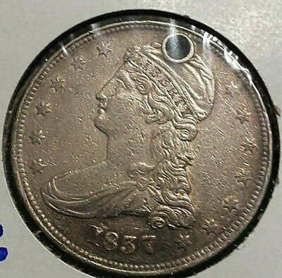 1837 Reeded Edge Capped Bust Half Dollar About Xf Pierced