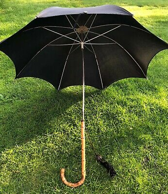 Vintage Black Umbrella Parasol Whangee Crook Handle Moarain British TV Film Prop