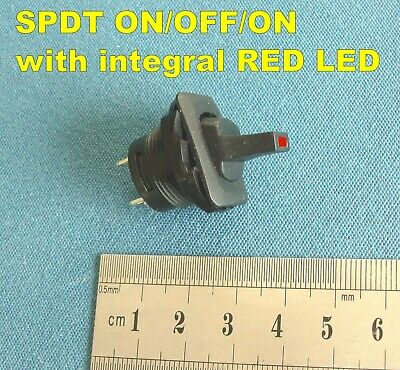 SPDT ON-OFF-ON  (CENTRE-OFF) TOGGLE SWITCH with RED LED. Panel-Mounting