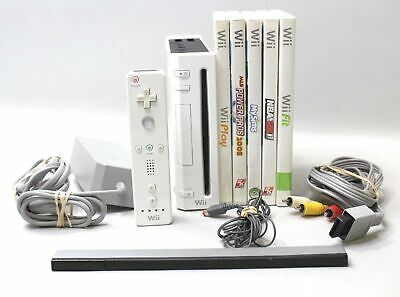 Nintendo Wii Console - White TESTED w/ 5 Games RVL-001