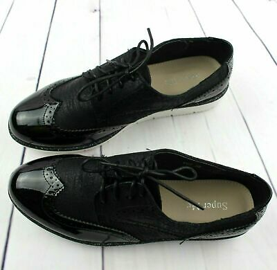 Ladies Girls Black Flat Lace-Up Oxford Brogue Work School Shoes Size Uk 5