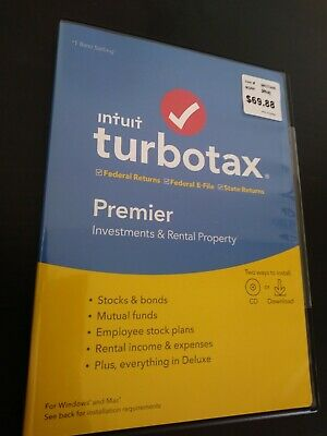Turbo Tax Premier 2019 Window/Mac Investments & Rental Property (CD) or Download