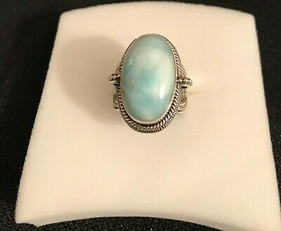 Bali Legacy Collection Burmere Green Jade Sterling Silver Ring size 6 4.75 cts