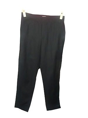Vince NWT Womens size 4 Straight Leg Flat Front Pull On Pants Black Cotton $245