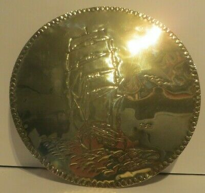 Arts & Crafts Style brass Shields with Hammered Sailing Ship design