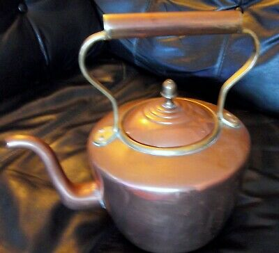 Victorian Edwardian Large Old Vintage Antique Copper & Brass Kettle