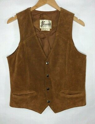 Berman's Vtg Mens Brown Suede Leather Lined Snap Vest Rancher Cowboy Western 40