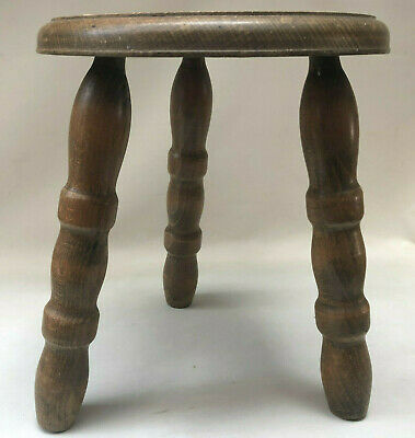 Vintage French  Wooden 3 Leg Milking Stool,Turned Wood Legs & Circular Seat