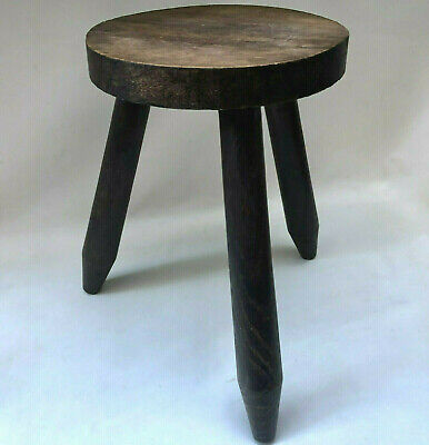 Vintage French Rustic 3 Leg Wooden Milking Stool With Round Seat, Home Decor