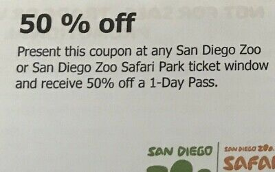 Two 50% Off One Day Pass Tickets For San Diego Zoo Or Safari Wild Animal Park