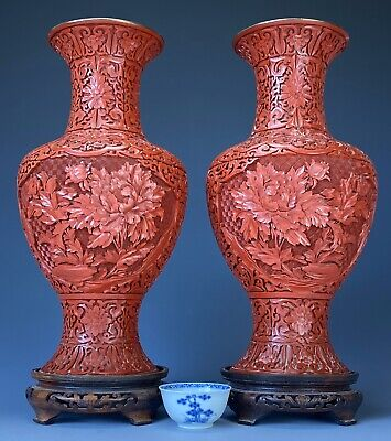 Outstanding Large 38cm Antique Chinese Carved Cinnabar Lacquer Vases Mirror Pair