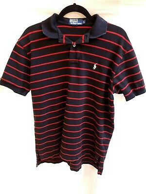 Mens Polo by Ralph Lauren Stripe Polo/Golf Shirt Size Large - Black/Red - Cotton