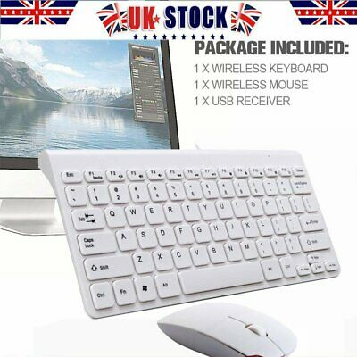 Ultra Slim Quiet Thin + Mouse Wired Keyboard USB QWERTY Set UK Layout for Win PC