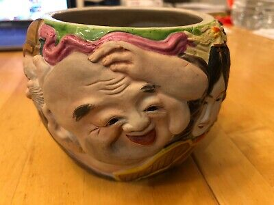 Antique Japanese Ceramic Vase Faces 3D Design
