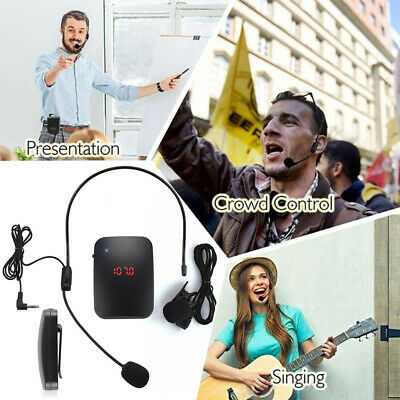 VHF Stage Portable Wireless Lavalier Lapel Headset Microphone Mic FM Transmitter