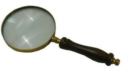 Nautical Magnifying Glass Hand Held Magnifier With Wooden HandLE REPLICA