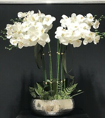 XX LARGE Luxury FAUX White Orchid Flower Arrangement Artificial silver Vase