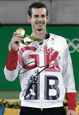andy murray gold on podium at the 2012 london olympics signed 12x8 photo