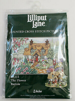 Vintage Lilliput Lane counted cross stitch picture kit. LL211 Flower Barrow