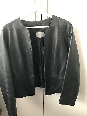 Beautiful Quality Black Leather Jacket By Marks & Spencers  Size 14/16