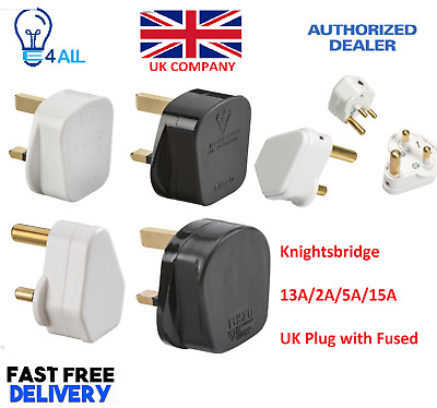 Knightsbridge 13A/2A/5A/15A UK Plug with Fused White/Black for Domestic use plug