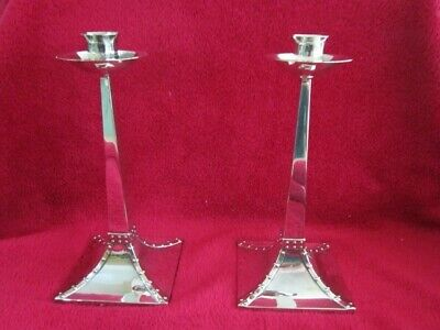 Pair of Beautiful Arts & Crafts Silver-Plate Candlesticks c1910.