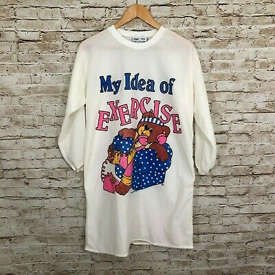Vintage Girls Nightgown 80s Ringer Pajama Shirt Teddy Bear One Size Night Star