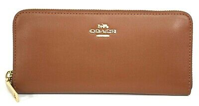 NWT Coach Smooth Calf Leather Accordion Zip Around Wallet Saddle Brown Gold