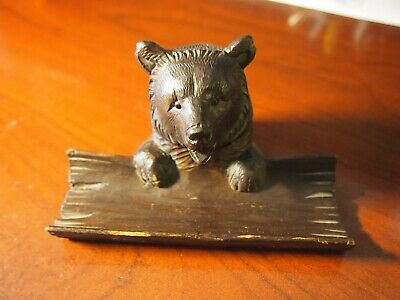 Antique Black Forest Carved Bear Inkwell-Pen Rest Tray