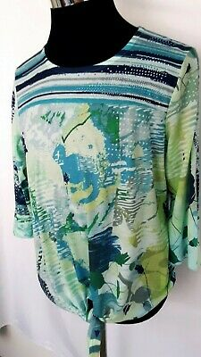 Christopher & Banks Womens Tie front top teals size Large casual fun embellished