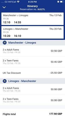 Ryanair flight tickets X 4