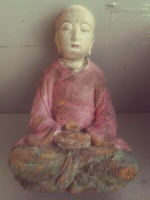 """9 1/2 """" Chinese Shanxi Temple Handworked Wood Painted Buddhist Monk Sit Statue"""