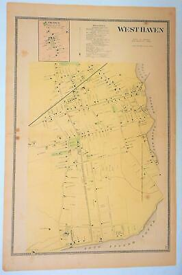 WEST HAVEN Map Original 1868 Colored Lithograph from  Beers Atlas