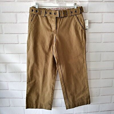 Liz Claiborne Size 4 Crop Capri Pants Brown Belted Michaela