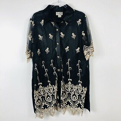 Women's Vintage Size XL Black Floral Embroidered Tunic Top + Satin Camisole