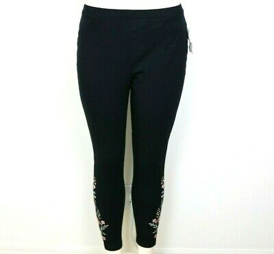 Style Co Womens Leggings Cotton Embroidered Floral Black Size Petite Large NWT
