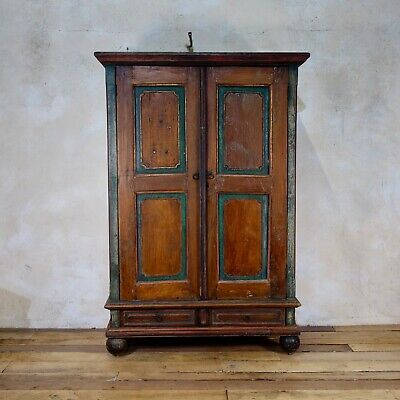 An Antique Small 19th Century Folk Art Painted Cupboard Armoire Wardrobe