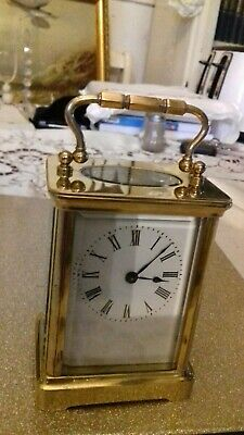 Genuine Antique Carriage Clock With Key And Travel Case. Superb Condition.