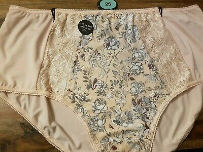 Brand New Ex M/&S Jacquard Lace High Rise Full Briefs Sizes 8-28 Almond