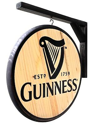 Guinness Draught Sign - Classic Double-Sided Pub Sign Design -Large 15 in. diam.