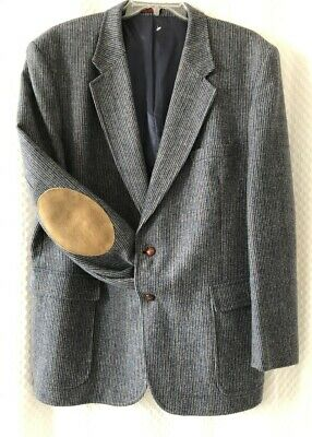 VTG Mens 48L Long Wool Tweed Blazer Suit Jacket with Elbow Patches English Manor