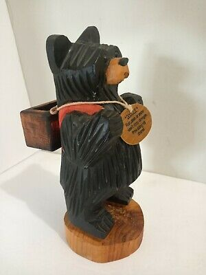 Antique Carved Wood Bear Detailed