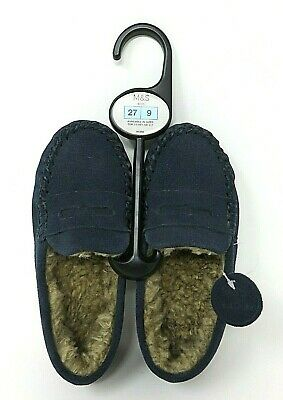 Marks & Spencer M&S Kids Suede Leather Pull Slip On Moccasin Slippers Blue Sz 9