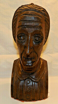 """Hand Carved Wooden Bust of OLD COUNTRY WOMAN in BONNET 8 1/2"""""""