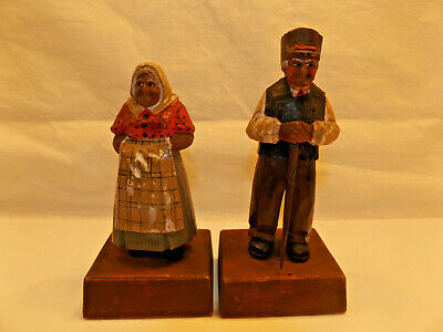 """2 Hand Carved Wooden Figures MAN + WOMAN 5 1/2""""  FOLK ART Signed MONTREAL CANADA"""