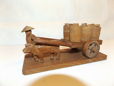 Hand Carved Wooden Figure MAN w OX CART + 6 BARRELS ASIAN FOLK ART