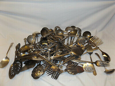 Lot of 70 SILVERPLATE MISC. SERVING PIECES LADLES  FORKS Crafts Resale NO MONOs