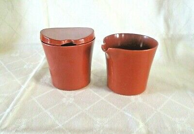 Vintage Melmac Bessemer Milk Jug & Lidded Sugar Basin Rust Brown Australian Made